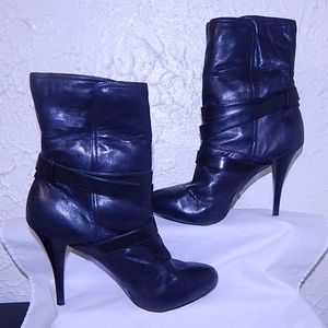 "Guess Leather Fur Lined Ankle Boots 4"" Heels"