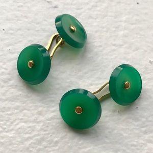 Other - Vintage French Jade & 18k Gold Cufflink