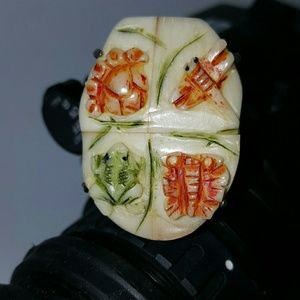 Carved bone dragonfly frog butterfly 925 ring
