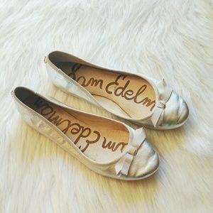 Sam Edelman 5M Milly Silver Ballet Flats Shoes