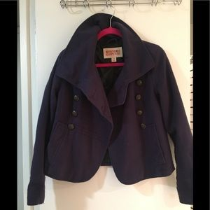 Purple wool peacoat jacket