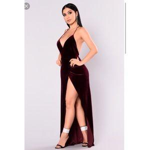 9fcca2672bd Fashion Nova Dresses - Angelique Velvet Maxi Dress - Dark Burgundy