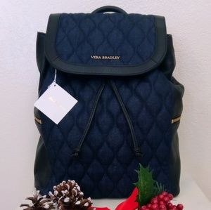 Quilted leather denim Amy backpack Vera Bradley