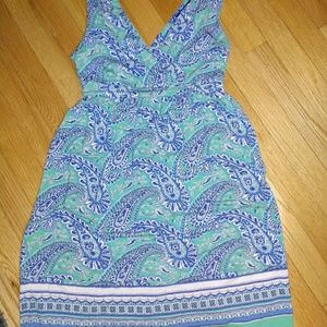 Old Navy Blue Paisley Jersey Summer Beach Dress S