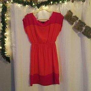 Orange and pink color block dress