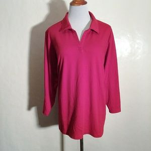 Lands' End Red V Neck Blouse with Collar