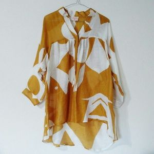 Plenty By Tracy Reese Blouse White Gold Tunic