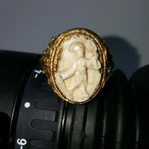 RARE Antique bone carvd Geisha vermeil silver ring
