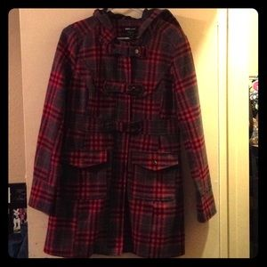 Plaid red long coat