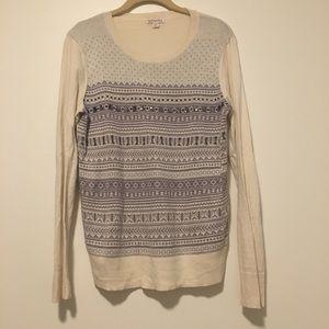 Women's Cream/Grey Jeweled Winter Sweater