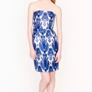 J. Crew Collection Blue White Silk Strapless Dress