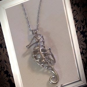 Jewelry - .925 silver sea horse pearl cage locket necklace
