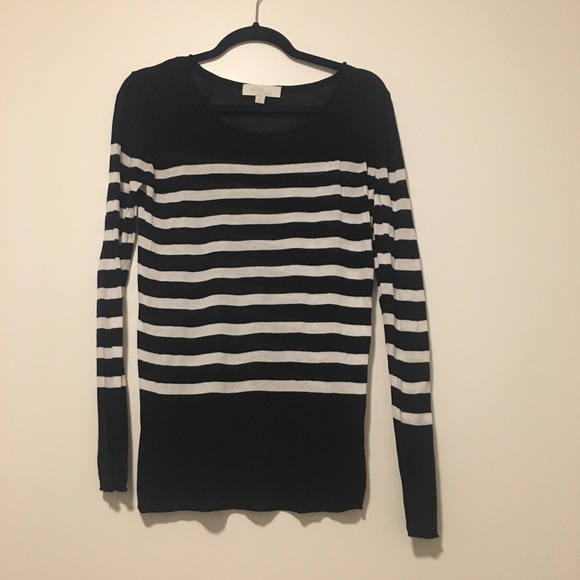 Olive Oak Sweaters Womens Semisheer Black White Striped Sweater