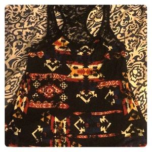 Aztec Print Lace Tank Top