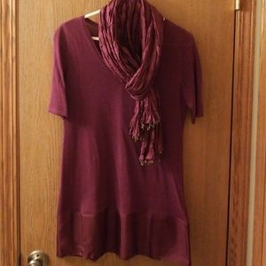 Short sleeve long cranberry tunic with silk scarf