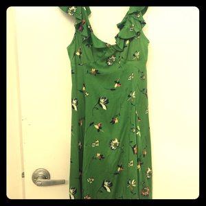 Low cut green floral ruffle dress