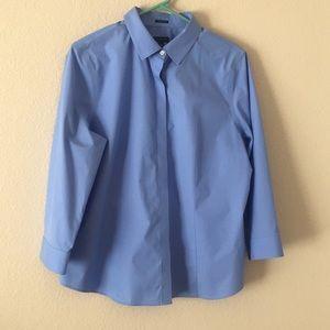Talbots light blue three quarter sleeve button up