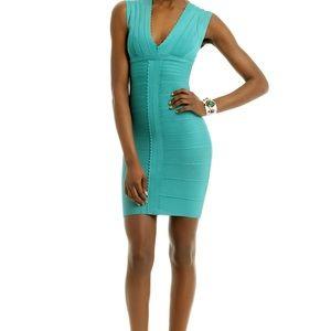 Kalyn Herve Leger blue dress, lovely !!