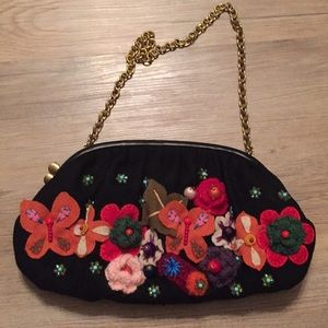 Anthropologie wool floral embroidered purse