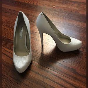 BCBG white heels