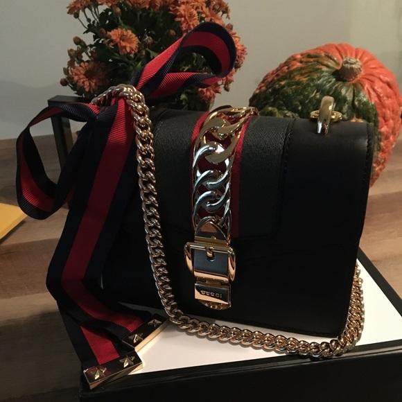 7251fad07af Gucci Leather Mini Sylvie Chain strap purse