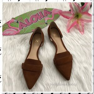 NEW Vince Camuto D'Orsay Leather Pointy Toe Flats