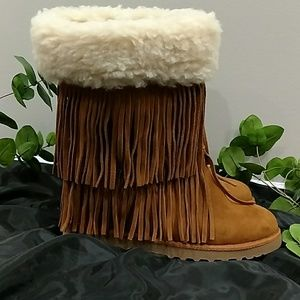 MADDEN GIRL LEATHER AND FAUX FUR BOOTS SZ 10