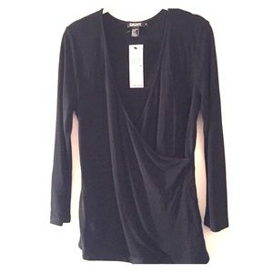 DKNY black matte jersey wrap front top M NWT