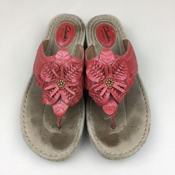 07d900cc034a8 Clarks Shoes - CLARKS Leather Flower Flip Flop Sandals Comfy