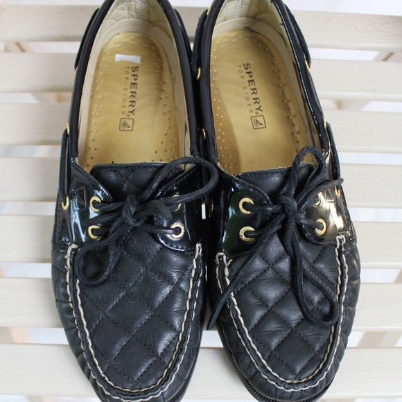 f74921d7c3 Sperry TopSider Black Quilted Leather BoatShoes 9M.  M 5a2db7f9522b450abc009612
