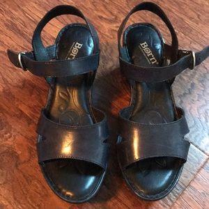 Born Black Leather Wedges Size 8