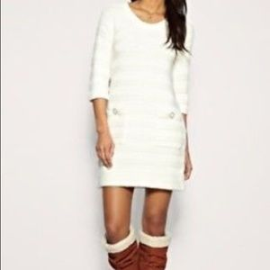 French Connection Ribbed Ivory Sweater Dress