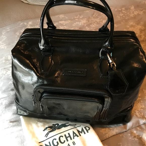 271c28925c55 Longchamp Handbags - Longchamp Black Patent Leather Legende Bag