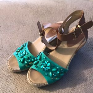 Turquoise wedge ankle strap sandals