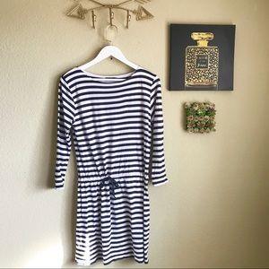 ANTHROPOLOGIE Navy White Striped Dress