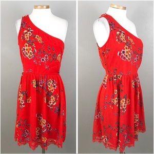 Xhilaration Red Floral Lace Hem One Shoulder Dress