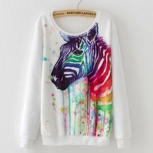 Sweaters - Fleece Pullover Colorful Zeebra Sweatshirt
