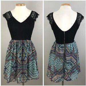 Xhilaration Black Lace Boho Geometric Dress