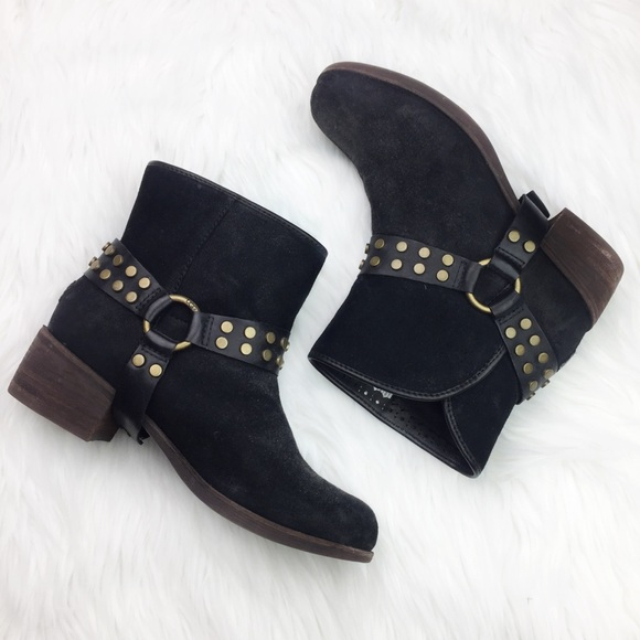 16c65d42e12 UGG Darling Suede Harness Ankle Boots Bootie Black