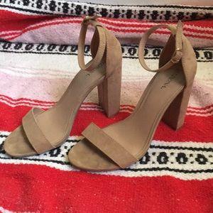 Tan Faux Suede Tall Block Heels