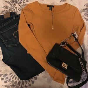 Mustard color crop top