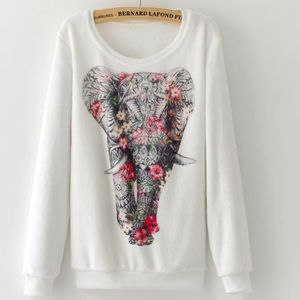 Sweaters - Fleece Pullover Gorgeous Elephant Sweatshirt