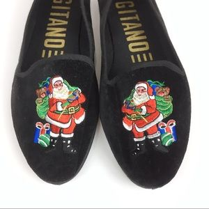 VTG Christmas Loafers Santa Black Velvet Flats