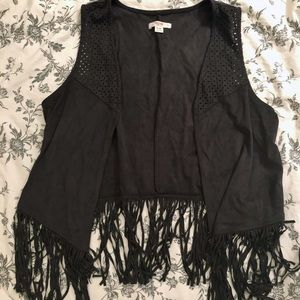 Faux suede perforated fringe boho plus size vest
