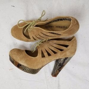 CHINESE LAUNDRY HIGH HEEL SUEDE TIE FRONT BOOTIES