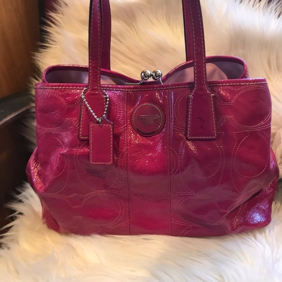 Coach Bags   Pink Patent Leather Handbag   Poshmark 0a9a26774e