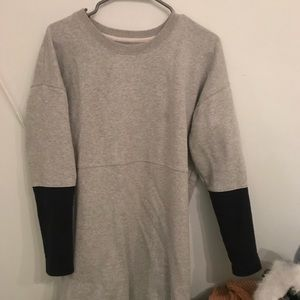 Madewell gray and black color block sweater dress