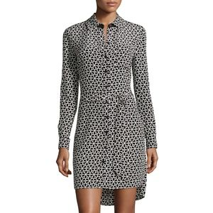 dvf • prita floral lace print belted shirt dress