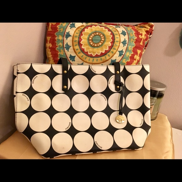 42c33c6d5ec7 Brahmin Handbags - Black & White Polka Dot Brahmin Purse