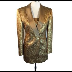 Escada Golden Glam Sexy Mini Dress Suit Bling S